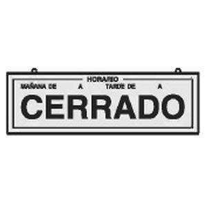 CARTEL CERRADO/ABIERTO PLATEADO 230X70MM