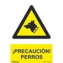 SEÑAL PVC 21X30 PRECAUCION PERROS